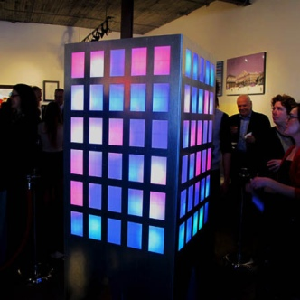 "O'Malley often creates abstract works of light, and colour, as seen here in his piece ""Urbana"", so ""Community Channel"" was a bit of a departure from his past work."