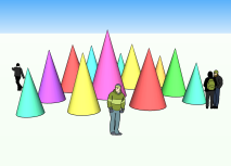 Attendees will be able to influence the colour of the cones through their smartphones, as seen in this rendering.