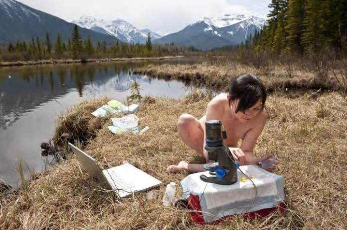 "Jennifer Willet in ""InsideOut: Laboratory Ecologies"" @ Banff National Park, 2009."
